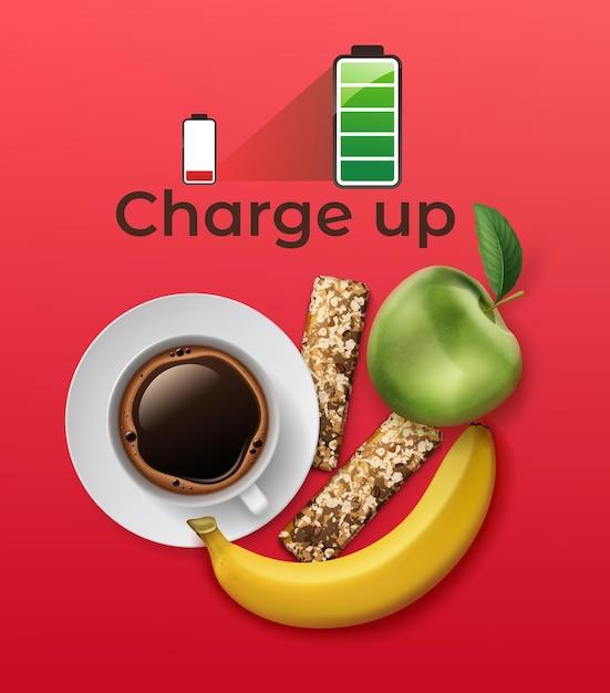 Énergétique Réaliste Sertie De Barre De Protéines, Tasse à Café, Pomme Et Banane Sur Fond Rouge Avec Icône De Batterie Pleine Vecteur Premium