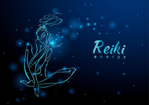 L'énergie du reiki Vecteur Premium