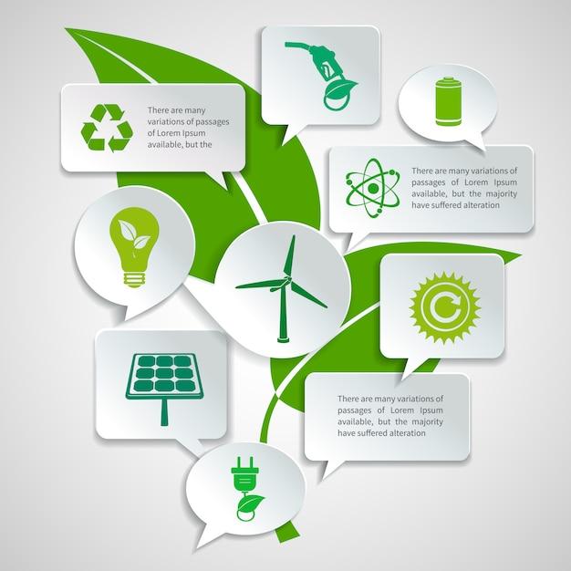 Énergie et écologie papier discours bulles entreprise infographie éléments de conception avec illustration vectorielle de feuille verte concept Vecteur gratuit