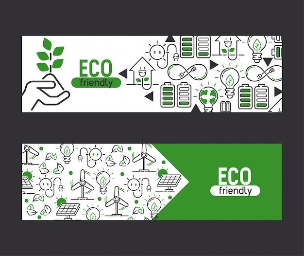 Energie électricité et terre eco énergie électrique ampoules énergie de panneaux solaires bannière Vecteur Premium