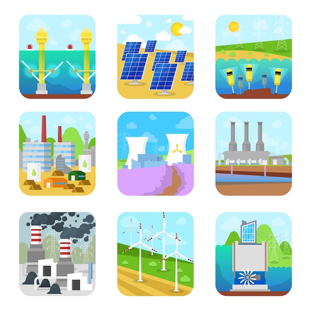 Énergie énergie électricité énergique Stations Puissantes Usine Sources Renouvelables Renouvelables Alternatives Solaire, Hydroélectrique Ou éolienne Set Illustration Sur Fond Blanc Vecteur Premium