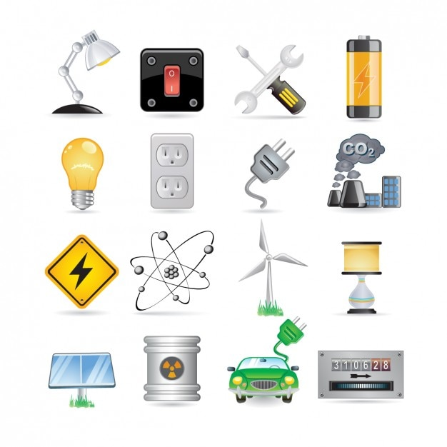Energie icon set Vecteur gratuit