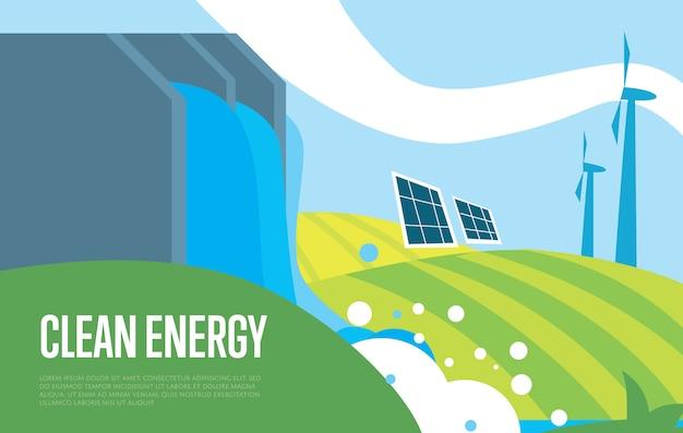 Énergie Propre. Soleil, Eau Et énergie éolienne Vecteur Premium