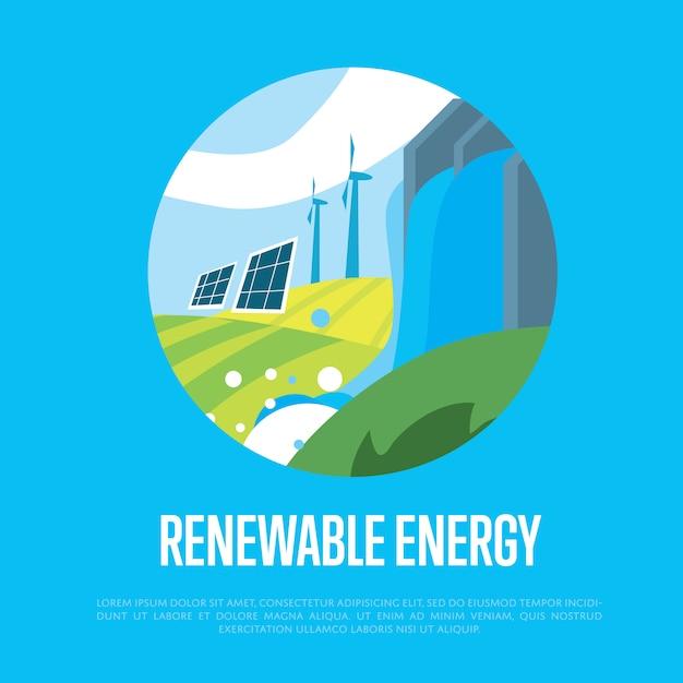 Énergie Renouvelable. Soleil, Eau Et énergie éolienne Vecteur Premium