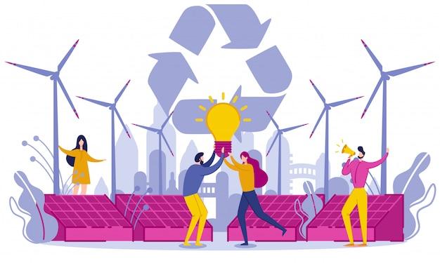 Énergie verte et matières premières secondaires. Vecteur Premium