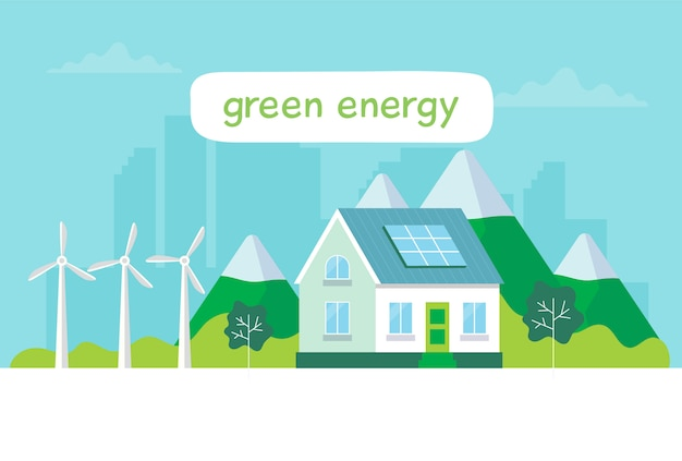 Énergie verte Vecteur Premium