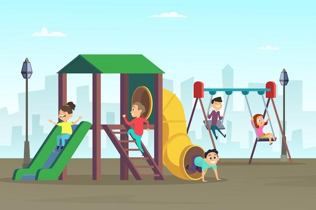 Enfance heureuse. enfants jouant sur un terrain de jeu Vecteur Premium