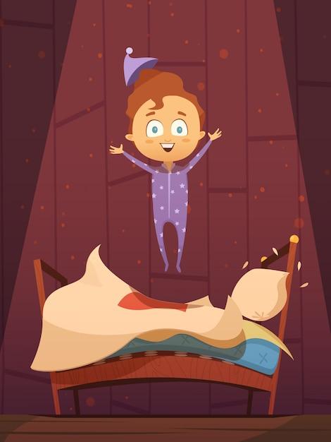 Enfant d'âge préscolaire dessin animé indiscipliné en pyjama, sautant sur illustration vectorielle rétro plat de lit défait Vecteur gratuit