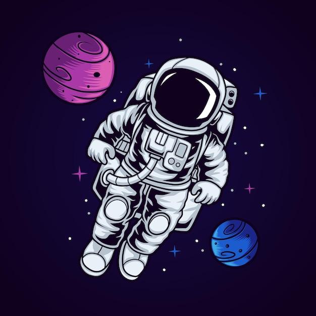 Enfant Astronaute Dans L'espace Vecteur Premium