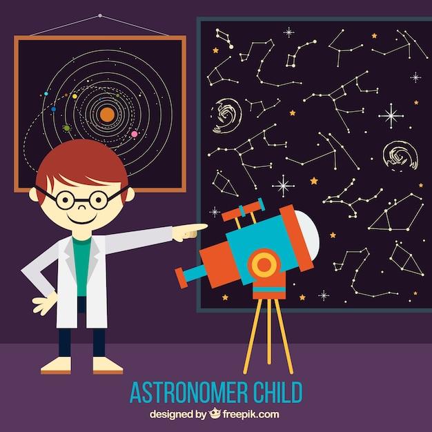 Enfant Astronome Avec Un Télescope Pour Voir Constellations Vecteur Premium