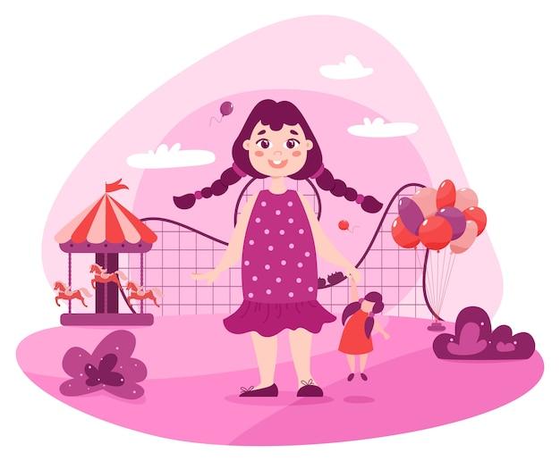 Enfant En Bas âge Heureux Dans Le Parc D'attractions. Petite Fille En Robe Rose Debout à Proximité Des Attractions Telles Que Carrousel Avec Chevaux, Grande Roue, Montagnes Russes. Vecteur Premium