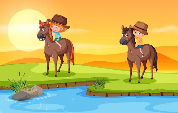 Enfant à cheval dans la nature Vecteur Premium