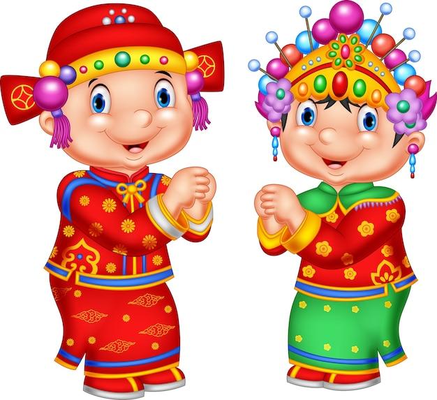 Enfant Chinois De Dessin Animé En Costume Traditionnel