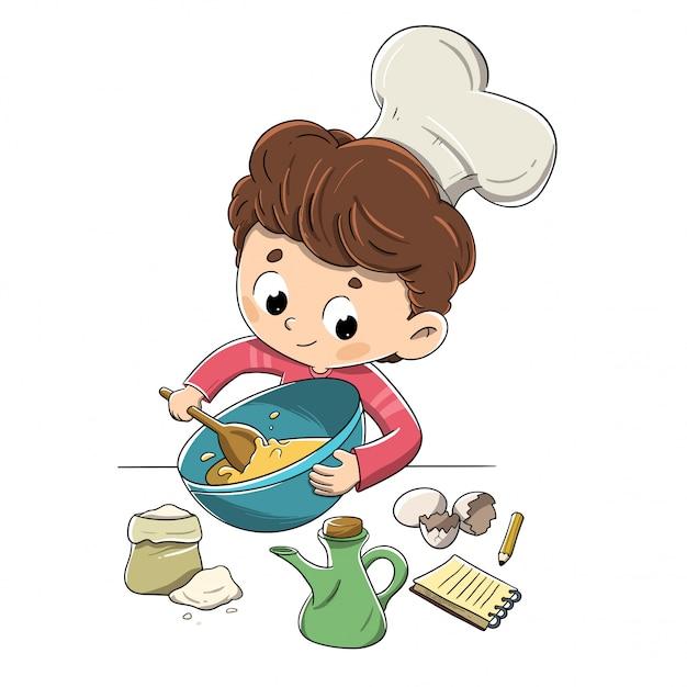 Enfant dans la cuisine prépare une recette Vecteur Premium