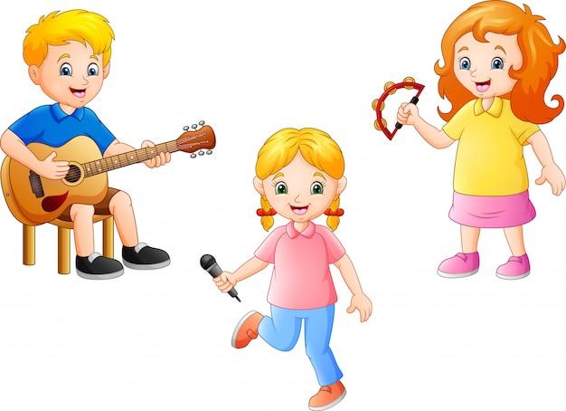 Enfant De Dessin Animé Jouant De La Musique Ensemble Vecteur Premium