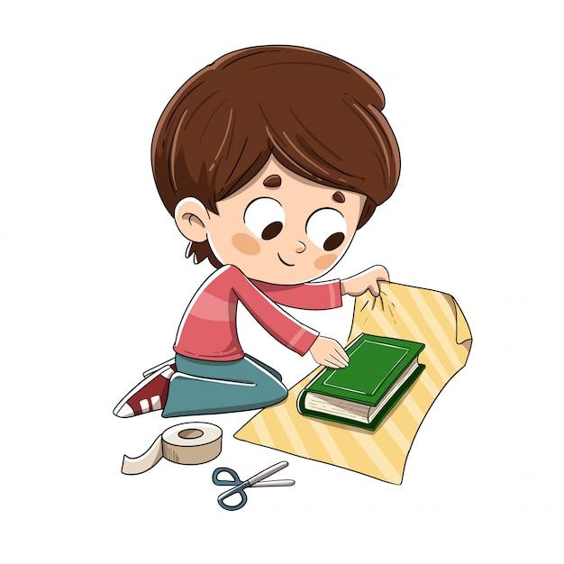 Enfant emballant un livre-cadeau Vecteur Premium
