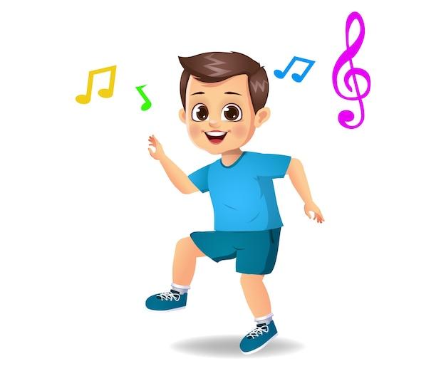 Enfant Garçon Mignon Dansant Sur De La Musique Isolée Sur Blanc Vecteur Premium