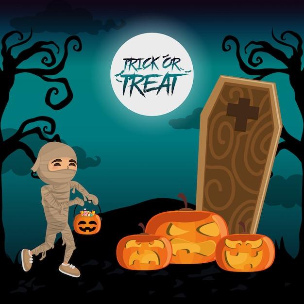 Enfant et halloween Vecteur Premium