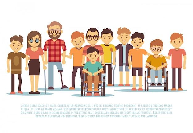 Enfant Handicapé Vecteur Premium