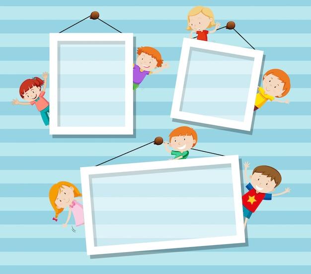 Enfant Heureux Sur Le Cadre Vecteur gratuit