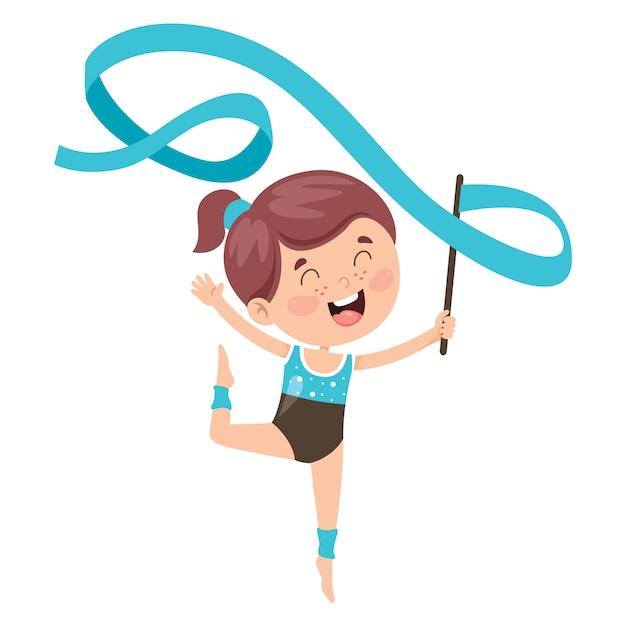 Enfant Heureux, Faire De L'exercice De Gymnastique Vecteur Premium