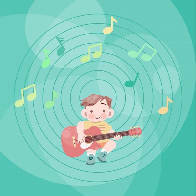 Enfant heureux mignon jouer de la musique guitare vector illustration fantaisie Vecteur Premium