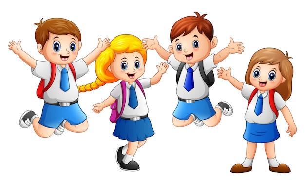 Enfant heureux, porter l'uniforme, aller à l'école Vecteur Premium