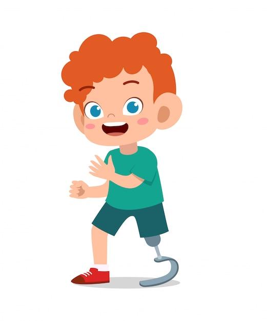 Enfant Heureux Avec Le Vecteur Jambe Prosthétique Vecteur Premium
