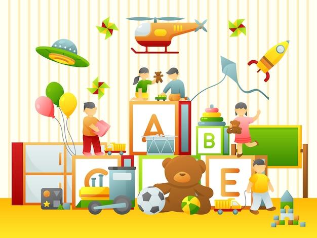 Enfant jouant illustration plate Vecteur Premium