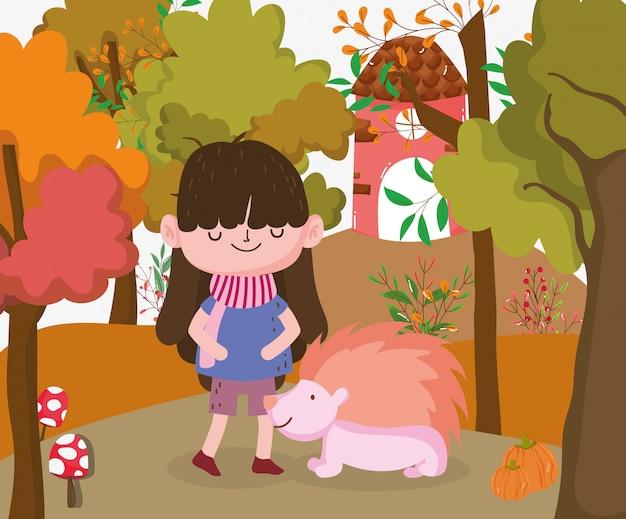 Enfant mignon bonjour illustration d'automne Vecteur Premium