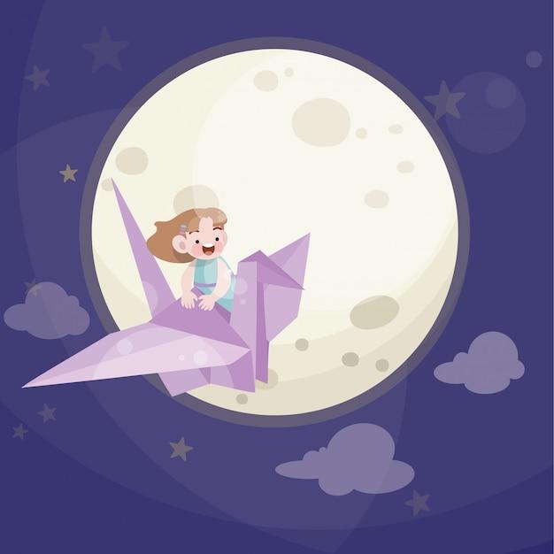 Enfant mignon jouer avec les étoiles et la pleine lune Vecteur Premium
