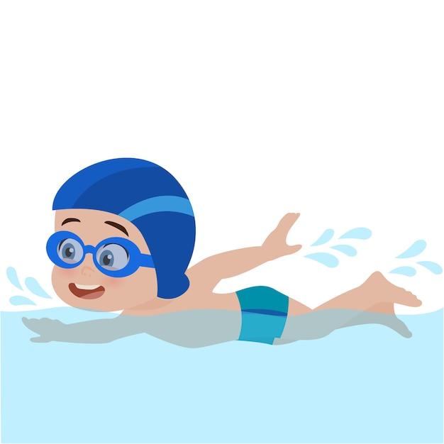 Enfant nageant Vecteur Premium