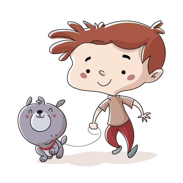 Enfant promener le chien dans le parc Vecteur Premium