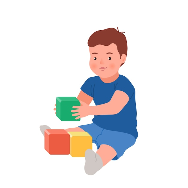 Enfant Souriant Mignon Jouant Avec Des Cubes Colorés. Bébé Jouant Jouet En Développement. Jouets Pour Petits Enfants Vecteur Premium