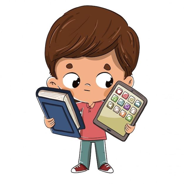 Enfant avec une tablette et un livre Vecteur Premium