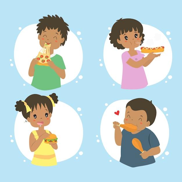 Enfants afro-américains manger fast-food, collection de vecteur Vecteur Premium