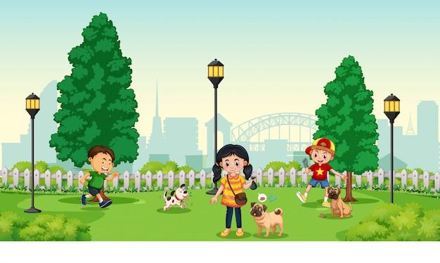 Enfants avec animal au parc Vecteur gratuit