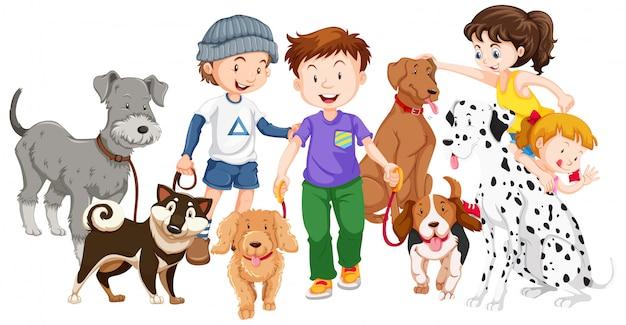 Enfants avec des animaux sur fond isolé Vecteur gratuit