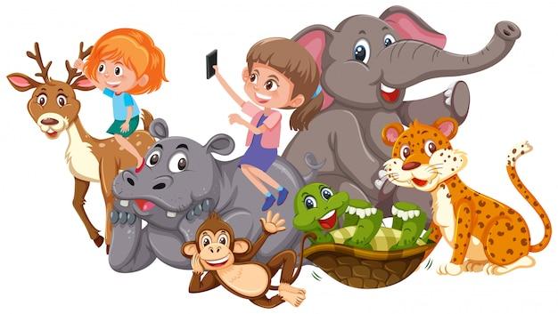 Enfants et animaux sauvages Vecteur Premium