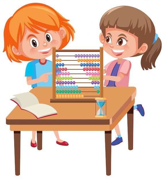 Enfants apprenant les maths avec boulier Vecteur Premium