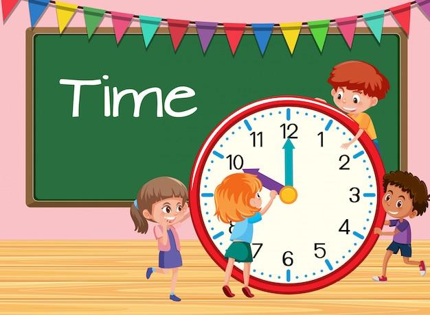 Enfants apprenant temps fond de classe Vecteur Premium