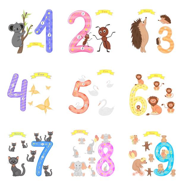 Les enfants apprennent à compter et à écrire Vecteur Premium