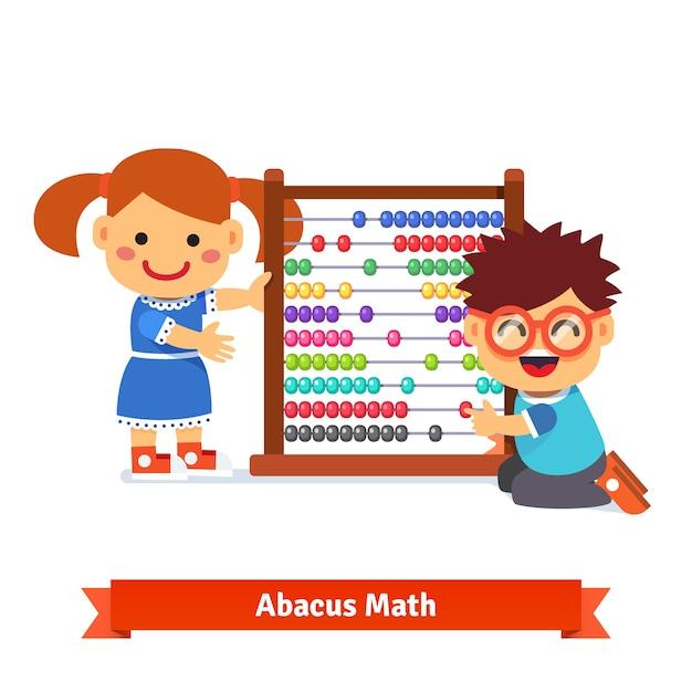 Les enfants apprennent des mathématiques Vecteur gratuit