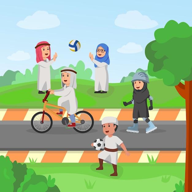 Enfants d'arabie jouant ensemble dans l'illustration vectorielle de garden carton Vecteur Premium