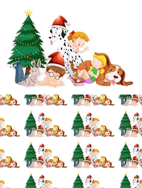 Enfants Et Arbre De Noël Vecteur gratuit