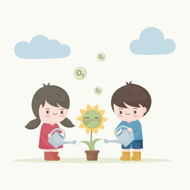 Enfants Arrosant La Terre De Fleurs. Sauvez L'écologie De La Terre Vecteur Premium