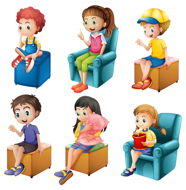 Enfants assis Vecteur gratuit