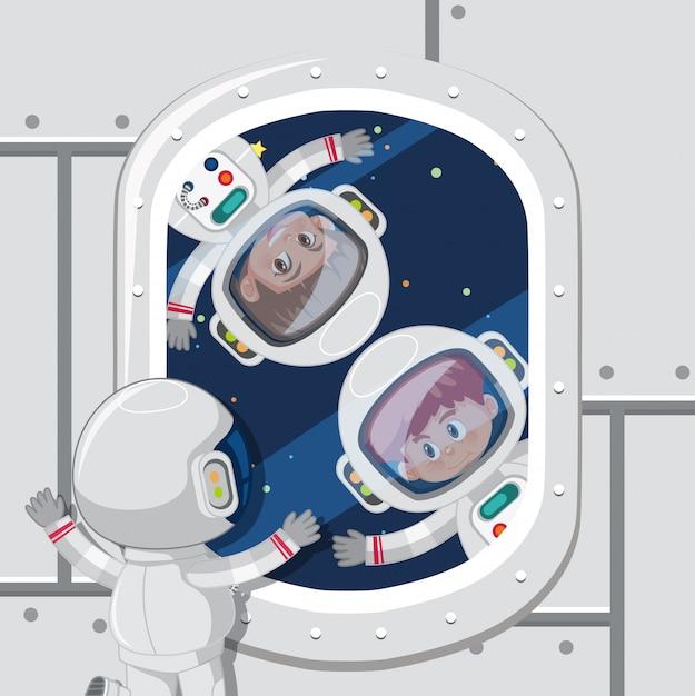 Enfants astronautes dans l'espace Vecteur Premium