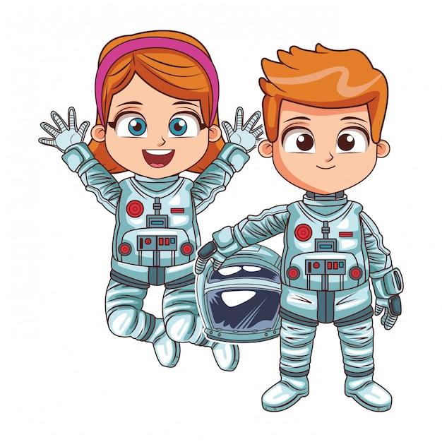 Enfants astronautes heureux Vecteur Premium