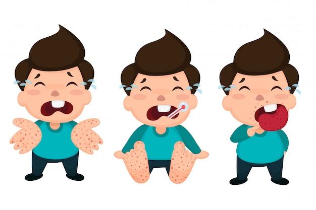 Enfants atteints de fièvre aphteuse infectés. Vecteur Premium